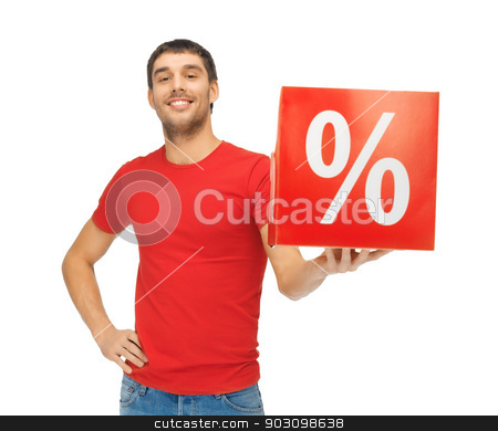 man with percent sign stock photo, picture of handsome man with percent sign by Syda Productions