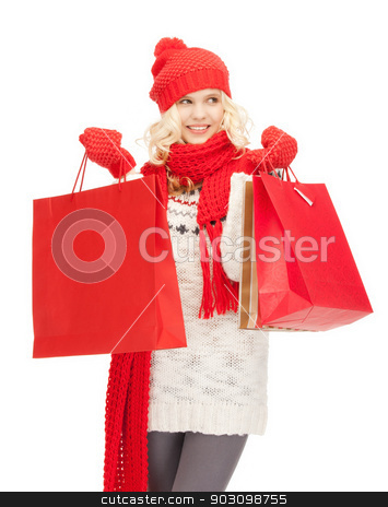 young girl with shopping bags stock photo, picture of  young girl with shopping bags.. by Syda Productions
