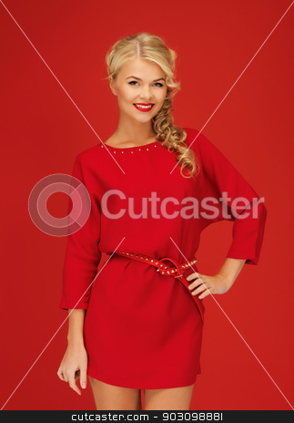 lovely woman in red dress stock photo, picture of lovely woman in red dress by Syda Productions