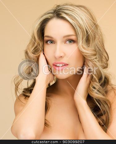 beautiful topless woman stock photo, bright closeup picture of beautiful topless woman by Syda Productions