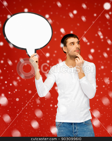 pensive man with blank text bubble stock photo, bright picture of pensive man with blank text bubble. by Syda Productions