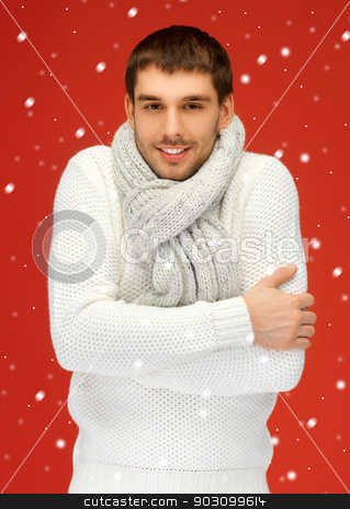 handsome man in warm sweater and scarf stock photo, bright picture of handsome man in warm sweater and scarf. by Syda Productions