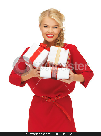 lovely woman in red dress with gift boxes stock photo, picture of lovely woman in red dress with gift boxes by Syda Productions
