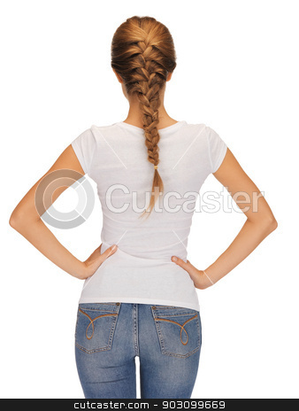 rear view of woman in blank white t-shirt stock photo, rear view of woman in blank white t-shirt by Syda Productions