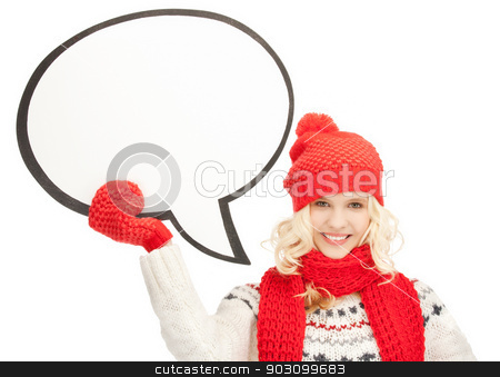 smiling woman with blank text bubble stock photo, bright picture of smiling woman with blank text bubble. by Syda Productions