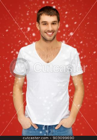 handsome man in white shirt stock photo, bright picture of handsome man in white shirt by Syda Productions