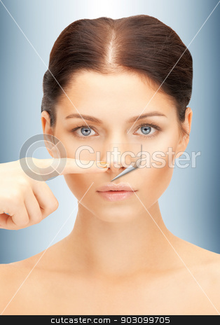 no more acne stock photo, bright closeup portrait picture of beautiful woman by Syda Productions