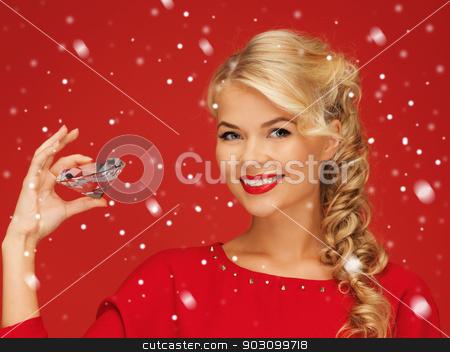 lovely woman with big diamond stock photo, picture of lovely woman with big diamond by Syda Productions