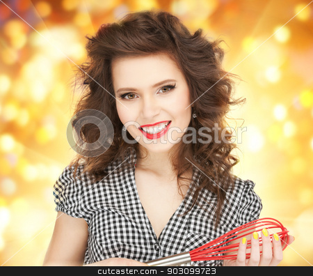 lovely housewife stock photo, bright picture of lovely housewife with cooking eqipment. by Syda Productions