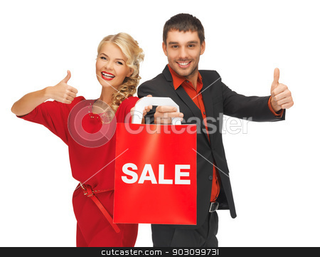 man and woman with shopping bag stock photo, bright picture of man and woman with shopping bag by Syda Productions