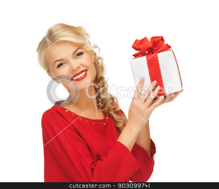 lovely woman in red dress with present stock photo, picture of lovely woman in red dress with present by Syda Productions