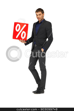 handsome man in suit with percent sign stock photo, picture of handsome man in suit with percent sign. by Syda Productions