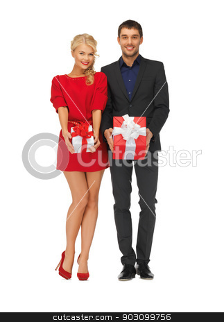 man and woman with gift boxes stock photo, picture of man and woman with gift boxes by Syda Productions