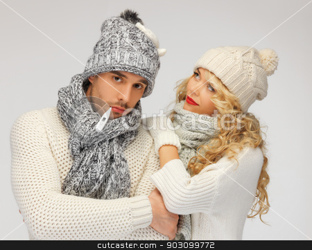 family couple with thermometer stock photo, bright picture of family couple with thermometer by Syda Productions