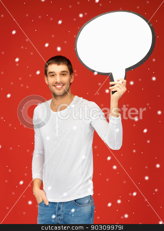 smiling man with blank text bubble stock photo, bright picture of smiling man with blank text bubble. by Syda Productions