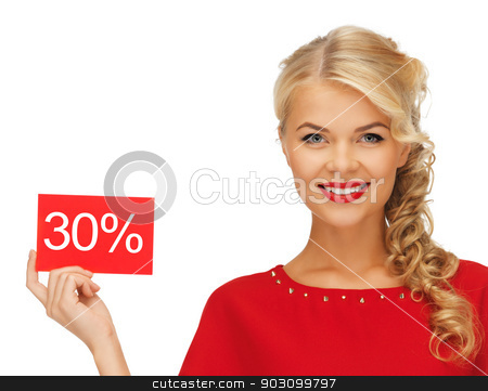 lovely woman in red dress with discount card stock photo, picture of lovely woman in red dress with discount card by Syda Productions