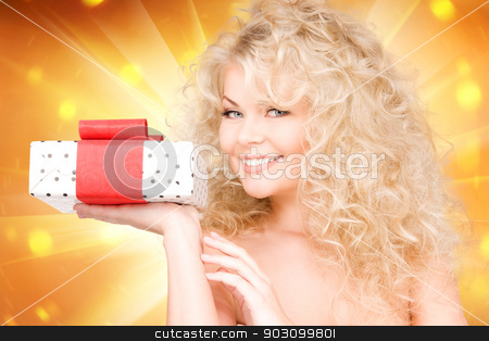 happy girl with gift box stock photo, happy girl with gift box over white by Syda Productions