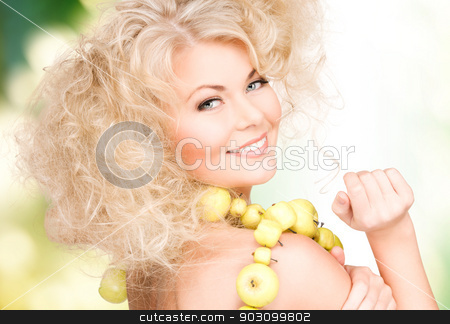 happy woman with green apples stock photo, picture of happy woman with green apples by Syda Productions