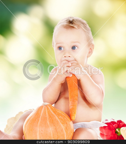 baby boy with vegetables stock photo, picture of baby boy in diaper with vegetables by Syda Productions