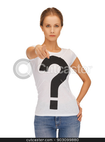 calm and serious woman pointing her finger stock photo, picture of calm and serious woman pointing her finger by Syda Productions