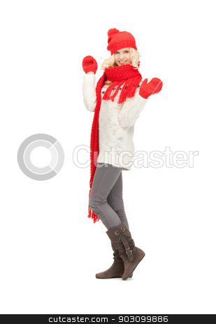 beautiful woman in hat, muffler and mittens stock photo, bright picture of beautiful woman in hat, muffler and mittens .. by Syda Productions