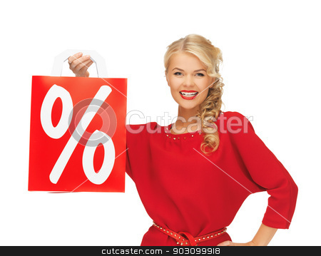 beautiful woman in red dress with shopping bag stock photo, picture of beautiful woman in red dress with shopping bag by Syda Productions