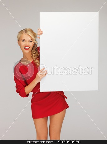 lovely woman in red dress with blank board stock photo, picture of lovely woman in red dress with blank board by Syda Productions