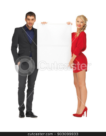 couple holding big blank board stock photo, bright picture of couple holding big blank board by Syda Productions