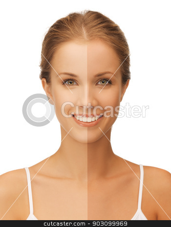 beautiful woman stock photo, bright closeup portrait picture of beautiful woman with half face tanned by Syda Productions