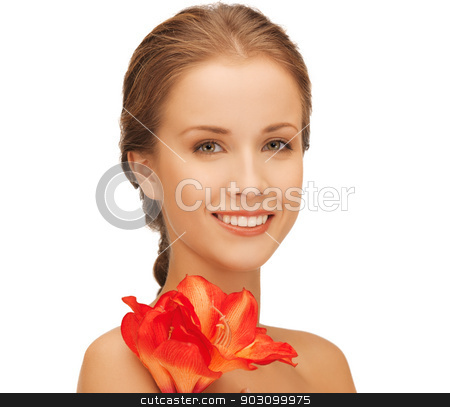 lovely woman with red lily flower stock photo, bright picture of lovely woman with red lily flower. by Syda Productions