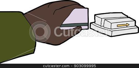 Hand Swiping Card stock vector clipart, Business person hand swiping credit card through metal reader by Eric Basir
