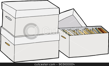 Business File Storage stock vector clipart, Three boxes with documents over isolated white background by Eric Basir