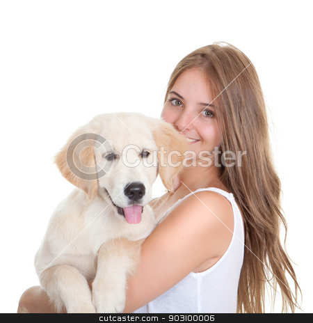 young woman with pet dog stock photo, young woman holidng labrador pet dog by mandygodbehear