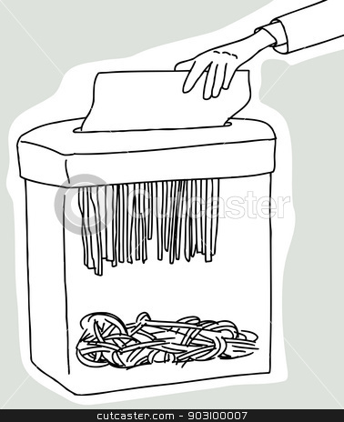 Paper Shredder stock vector clipart, Hand placing document in document shredder on gray background by Eric Basir