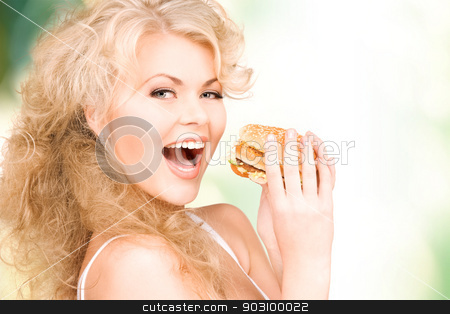 woman with burger stock photo, young beautiful woman with burger over white by Syda Productions
