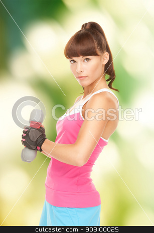 fitness instructor with dumbbells stock photo, lovely fitness instructor with dumbbells over white by Syda Productions
