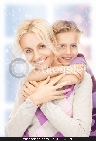 happy mother and little girl stock photo, bright picture of happy mother and little girl. by Syda Productions
