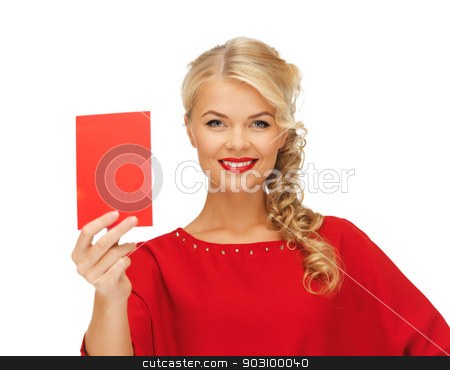 lovely woman in red dress with note card stock photo, picture of lovely woman in red dress with note card by Syda Productions