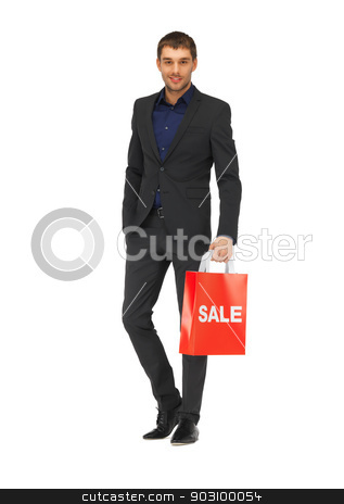 handsome man in suit with shopping bags stock photo, picture of handsome man in suit with shopping bags by Syda Productions
