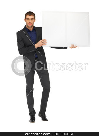 handsome man in suit with a blank board stock photo, picture of handsome man in suit with a blank board. by Syda Productions