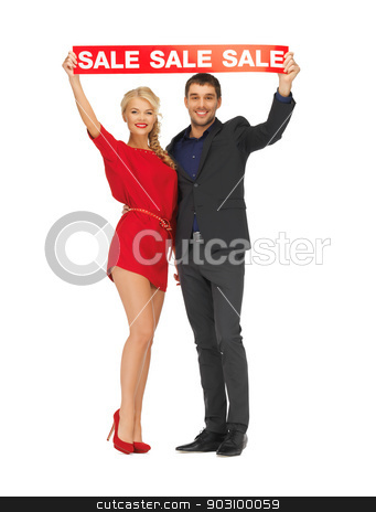 man and woman with sale sign stock photo, bright picture of man and woman with sale sign by Syda Productions