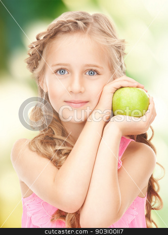 little girl with green apple stock photo, picture of little girl with green apple by Syda Productions