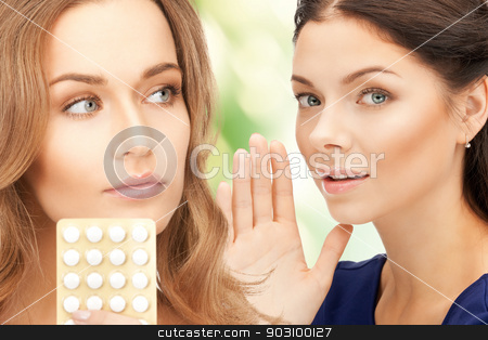 young beautiful women with pills stock photo, picture of young beautiful women with pills by Syda Productions