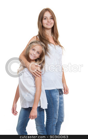 young mum and daughter or sister stock photo, young mum and daughter or little sister by mandygodbehear