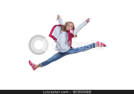fit healthy young girl doing ballet leap stock photo, fit healthy young girl arms raised doing ballet leap or jump by mandygodbehear