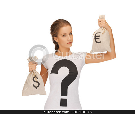 woman with dollar and euro signed bags stock photo, picture of woman with dollar and euro signed bags by Syda Productions