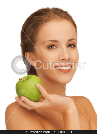 woman with green apple stock photo, picture of beautiful woman with green apple. by Syda Productions