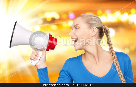 woman with megaphone stock photo, bright picture of beautiful woman with megaphone by Syda Productions