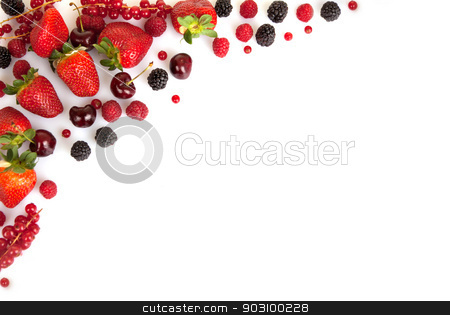 frame border or edge of red fresh summer fruits stock photo, frame border or edge of red fresh summer fruits with copy space  by mandygodbehear