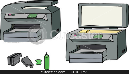 All In One Printer stock vector clipart, All-in-one printer, scanner, copier with ink cartridges by Eric Basir